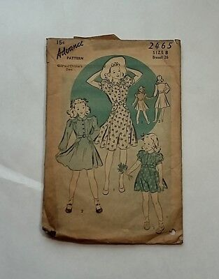 c.1940 Advance Pattern Young Girl's Dress  No. 2465 w/ Instructions