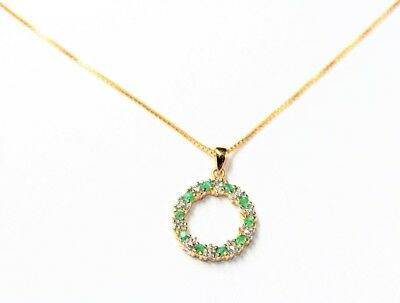 Sterling Silver Sparkly Green Rhinestone Circle Pendant Vintage Necklace c1990s