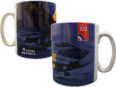 Royal Air Force RAF100 Roundel Logo Purple, Green & Yellow Ceramic Mug