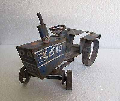 Vintage Old Collectible Handcrafted Unique Shape Handmade Tin Tractor Model Toy