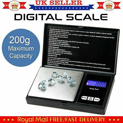 200g Gram Digital Pocket Mini Weighing Weight Scale For Jewellery Kitchen Lab UK