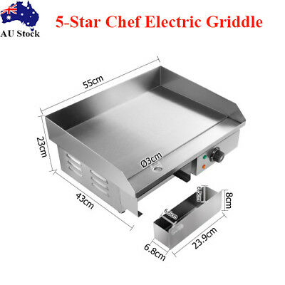 3000W Commercial Electric Griddle Grill Thermostat Hot Plate BBQ Flat Cooktop AU