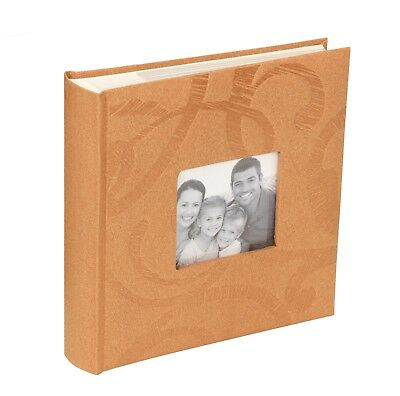 "Kenro Beige Tan Photo Album for 200 Photos 6x4"" with Swirl and Photo Window"
