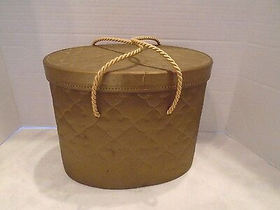 Vintage Model Home Quality  Goldtone Quilted Hat Box With Tray