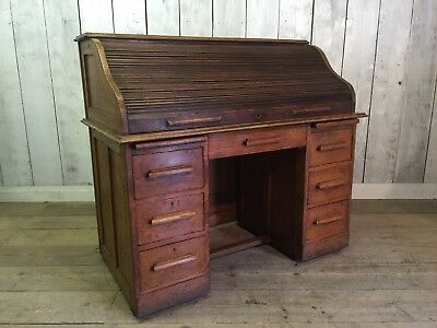 Antique Edwardian Solid Oak Roll Top Bureaux Desk Delivery Available