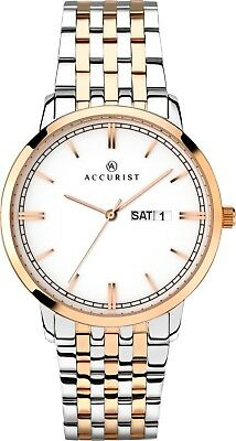 Accurist Gents White Ceramic Dial Sapphire Crystal Watch 7241 RRP £124.99