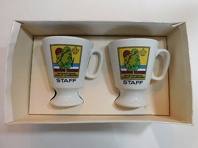 Vintage 1973 National Boy Scout Jamboree His & Hers Ceramic Coffee Mugs