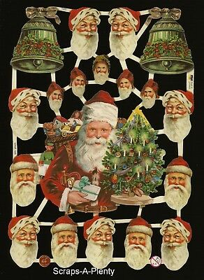 German Vintage Style Embossed Scrap Die Cut - Christmas Santa Bells   EF7220