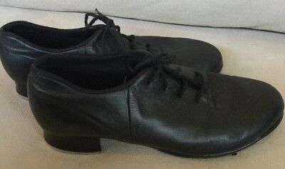 BLOCH Black Leather Lace Up Ties Tap Shoes Girls Dance Size 6.5 M Shock Wave