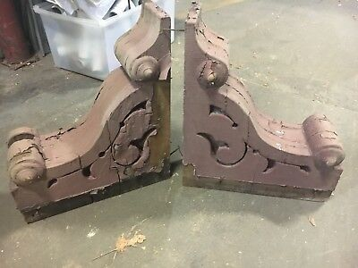 "Pair c1880's Victorian gingerbread gothic corbels porch brackets brown 17"" x 14"