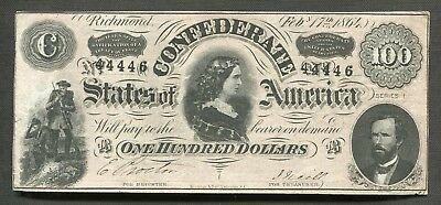 """T-65 1864 $100 Csa Confederate States Of America """"Lucy Pickens"""""""