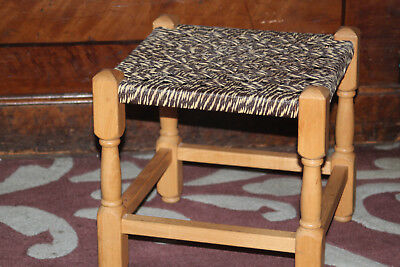 Vintage Footrest Stool Twisted String Woven solid