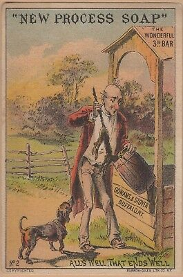 Victorian Trade Card-Gowans & Stover Soap-Gifford, PA-Removing Cat From Well
