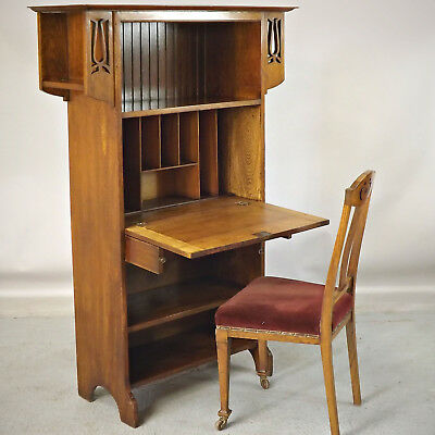 Bureau Bookcase - Arts & Crafts / Art Nouveau - Oak (delivery available)