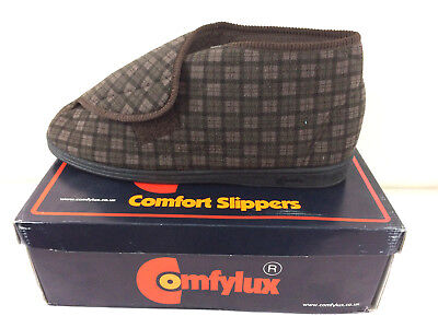 Comfylux James Mens Wide Fit Checked Comfort Soft Slipper Boot Brown Size 13