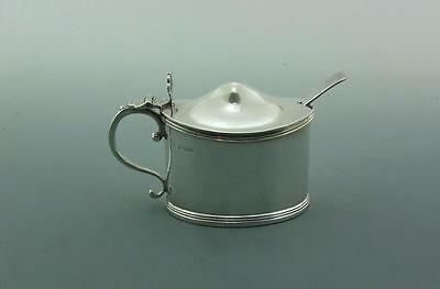 Excellent Substantial Solid Silver Mustard Pot & Spoon. L. A. Crichton 165 Gms