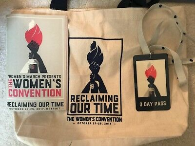 Women's March Inaugural Women's Convention Detroit 2017 tote bag program lanyard