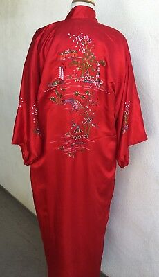 Vintage Asian Theme Red Silk Robe Hand Embroidery Sz L Plum Blossoms