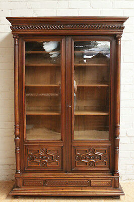 1112006 : Antique French Renaissance Henry II Style 2 Door Bookcase Cabinet