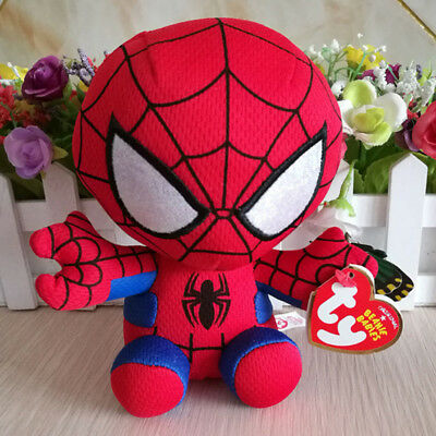"""TY Marvel Spider-Man Plush NEW! Beanie Baby Babies Avengers 6"""" inches"""