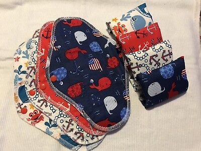 Set/8+4 Reusable Menstrual Pads, & Free Wet Bag Momma Cloth >Only 4 Avail< Ocean