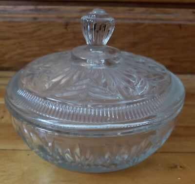 Vintage AVON Clear Glass Round Candy Dish With Lid Trinket Powder Vanity VTG