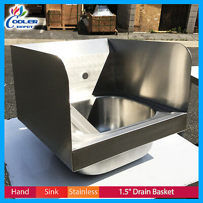 Commercial Kitchen Stainless Steel Wall Mount Hand Sink with Side Splashes NSF