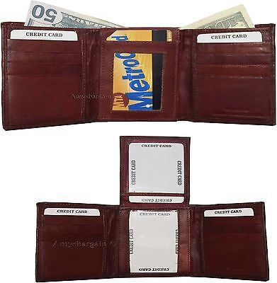 New Men/'s Trifold Leather Wallet 3 ID center piece Unbranded billfold wallet bn