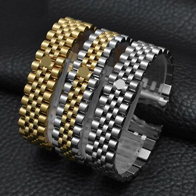 Solid Curved End Screw Links Jubilee Watch Wristwatch  Band Strap 13/17/20mm