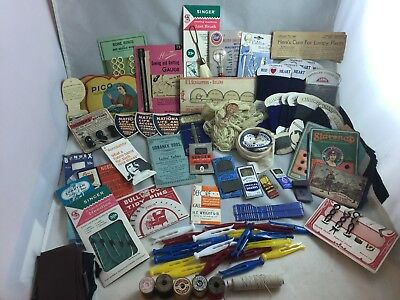 Large Lot Vintage Antique Sewing Supplies Needles Hooks Buttons Notions Wool
