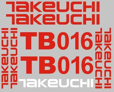 Decal Sticker set for TAKEUCHI TB016  Mini Digger Bagger Pelle