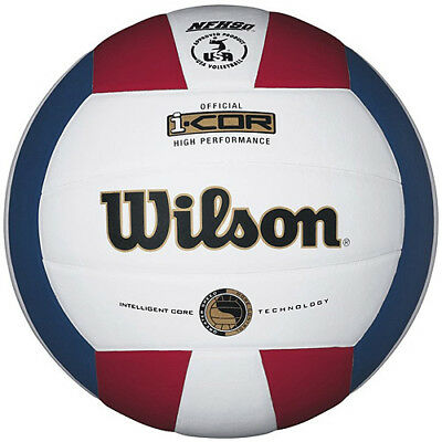 Wilson I-COR High Performance Indoor Volleyball, White/Red/Blue