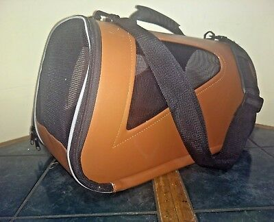 Pet Carrier dog cat travel small medium Brown vented  16 x 10 x 11 Leash carry
