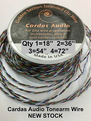 "Cardas Multi Strand 18"" Litz Tonearm Wire 4X33 Awg Golden Ratio Super Lite Cable"