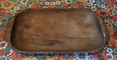 VTG Antique Long Wood Wooden Bowl Platter Rustic Centerpiece Trencher Primitive