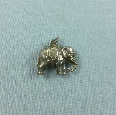Antique Vintage Sterling Silver Circus Elephant Charm Detailed
