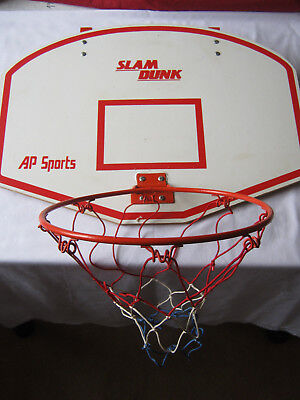 Slam Dunk basketball ring and board door mount kids vintage 62cms x 46cms