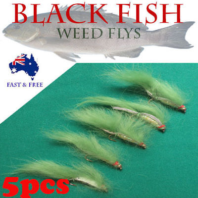 5x Weed Flies Blackfish Fly Fishing Freshwater Crab Craw Prawn Lures BASS BREAM