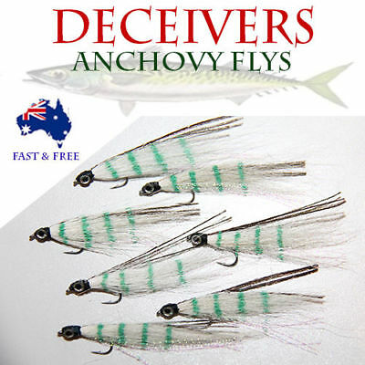 5x Anchovy Flies Fly Fishing Freshwater Crab Craw Prawn Lures BASS BREAM Eyes