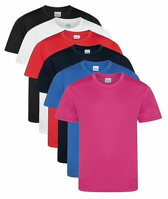Boys Girls Kids Childs Quick Dry Athletic Wicking Smooth Polyester T-Shirt