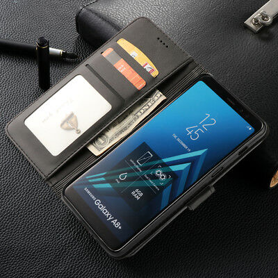 For Samsung Galaxy A8/A8+ 2018 Leather Phone Case Stand Wallet Shockproof Cover