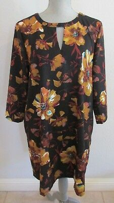 Nwtd Eci New York M & L Multi Color Floral A-Line Dress Msrp $98.00