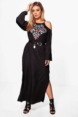 19cd74e26d5 NWT Pretty Women s Black Plus Louisa Embroidered Open Shoulder Maxi Dress  US 14