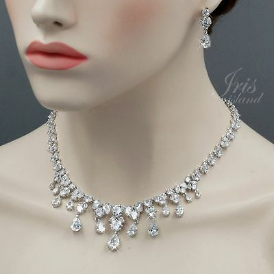 White Gold Plated Clear Cubic Zirconia Necklace Earrings Wedding Jewelry Set 817