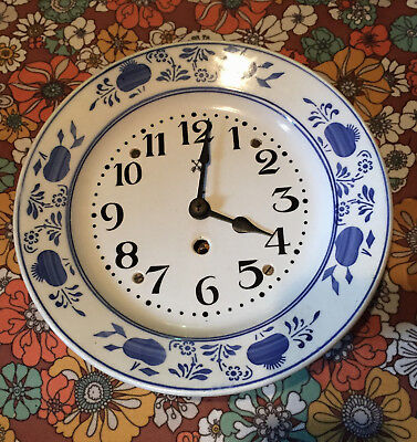 VTG Antique Blue Onion Danube Plate Wall Clock Wind Up