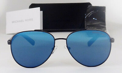 652ec6190a0 Michael Kors Jax Blue Mirror Flat Lens Black Frame Sunglasses Mk1028 120555  New