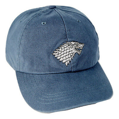 Game of Thrones House Stark Baseball Cap with Embroidered Sigil, Blue
