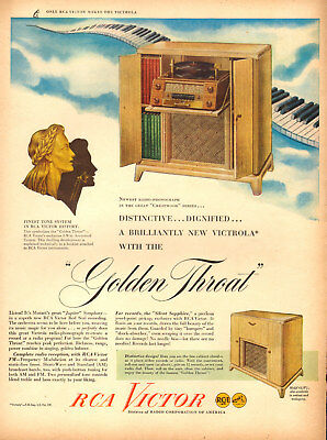 1946 vintage AD RCA VICTOR Golden Throat Console Radio Phonograph 043018