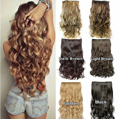 """24"""" One Piece Clip In Hair Extensions Synthetic Full Head Thick Wavy/Curly Hair"""