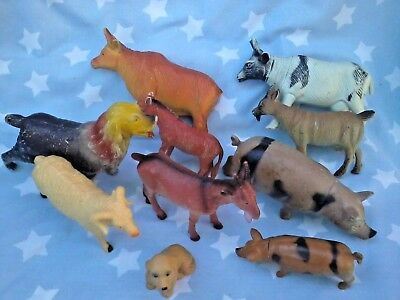 FARM ANIMALS older style toys plastic for play Cows, Goats, Pigs, Dogs, Sheep